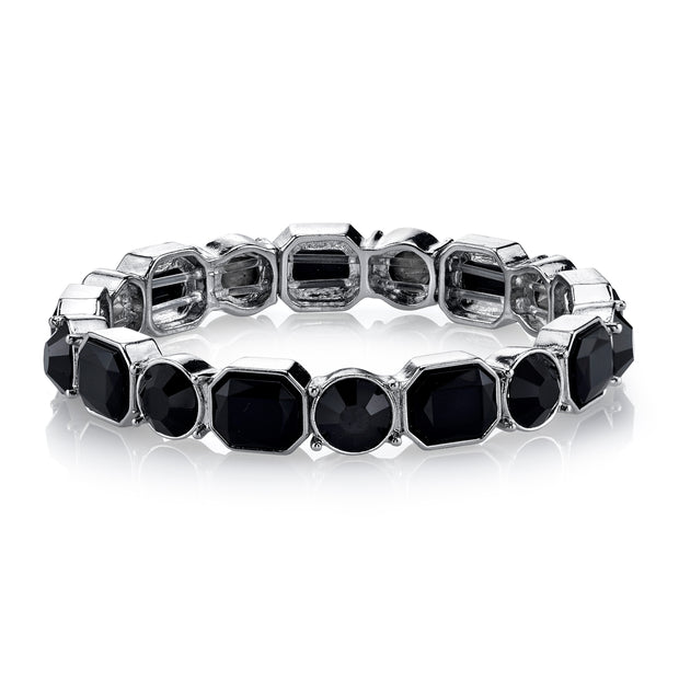 Silver-Tone Black Stretch Bracelet