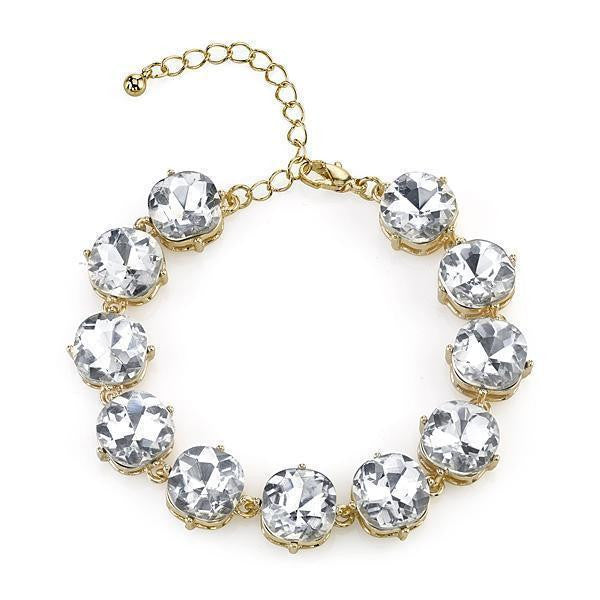2028 Gold-Tone Clear Crystal Faceted Bracelet 7 - 8 Inch Adjustable
