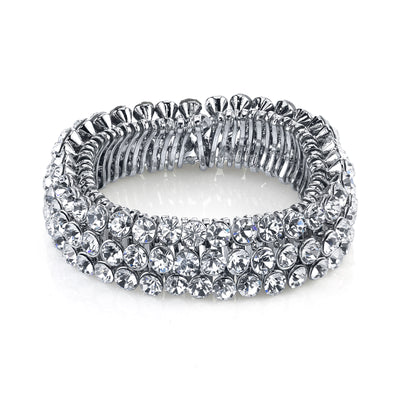 Silver Tone Clear Crystal 3 Row Stretch Bracelet