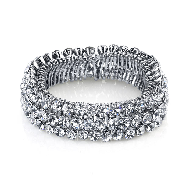 Silver-Tone Clear Crystal 3-Row Stretch Bracelet