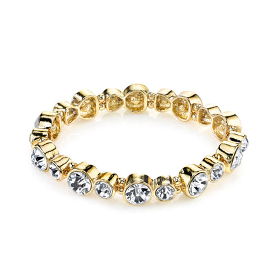 Gold-Tone Clear Crystal Stretch Bracelet