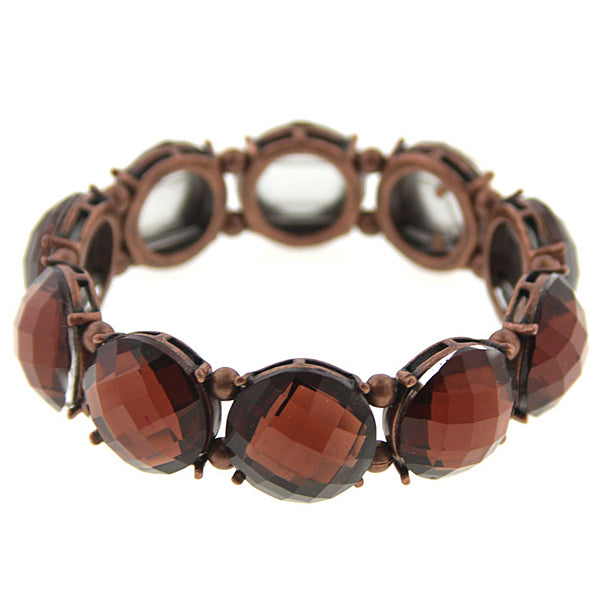 Copper Tone Brown Bead Stretch Bracelet