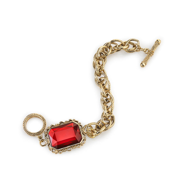 Gold Tone Red Faceted Toggle Bracelet