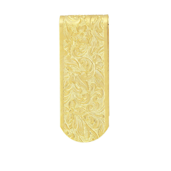 Gold Tone Thin Etched Money Clip
