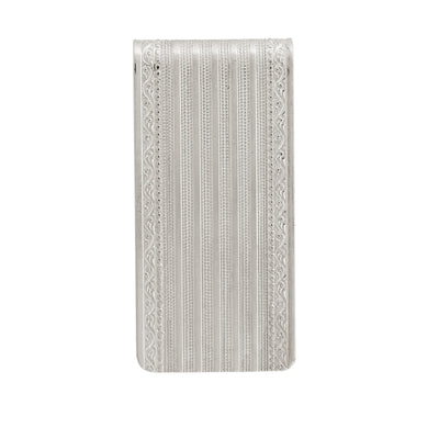 Silver Tone Etched Wide Money Clip