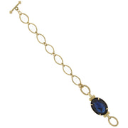 Gold-Tone Blue Stone Toggle Bracelet