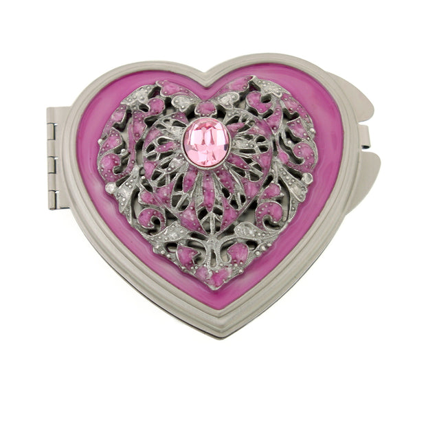 Silver-Tone Enamel And Crystal Heart Mirror Compact