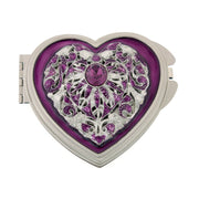 Silver Tone Enamel and Crystal Heart Mirror Compact