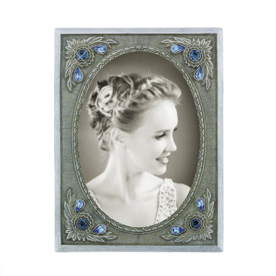 Silver Emma\'s Blue Crystal Small Vintage Picture Frame | 69605 ...
