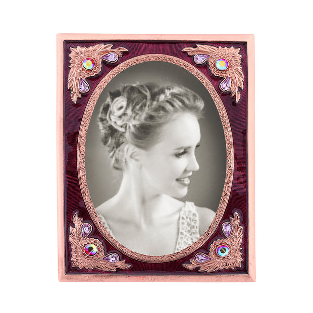 Copper-Tone With Berry Enamel And Crystal Ab Picture Frame