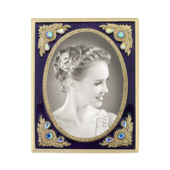 Fashion Jewelry - Emmas Purple Enamel and Crystal Vintage Picture Frame