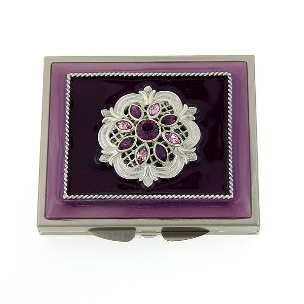 Silver-Tone Purple Enamel with Purple Crystal Square Mirror Compact