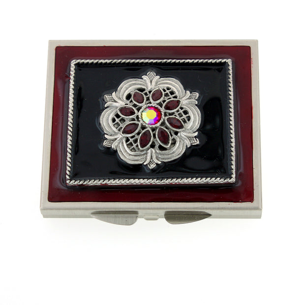 Silver-Tone Red Enamel & Crystal Square Mirror Compact