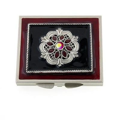 Silver-Tone Black/Red Enamel Red Ab Crystal Mirror Compact