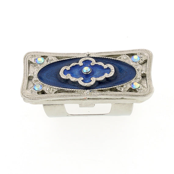 1928 Jewelry: 1928 Jewelry - Vintage Inspired Silver-Tone Blue Enamel Lipstick Holder