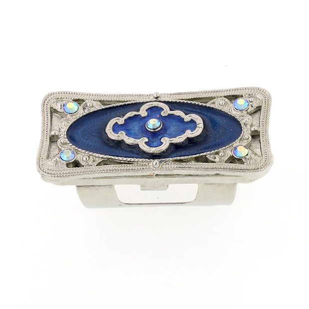 Silver-Tone Blue Enamel and Blue AB Crystal Lipstick Holder