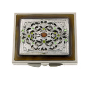 Silver-Tone Brown Enamel With Green Crystal Square Mirror Compact