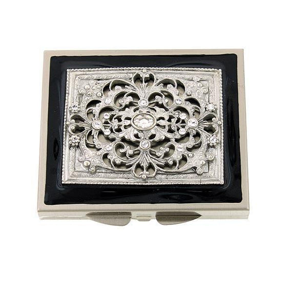 Silver-Tone Black Enamel with Crystal Square Mirror Compact