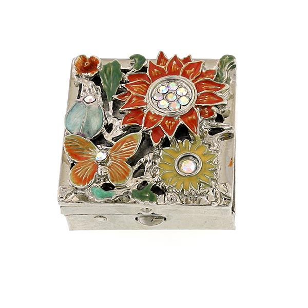 Silver Tone Enamel Flower And Butterfly Square Pill Box