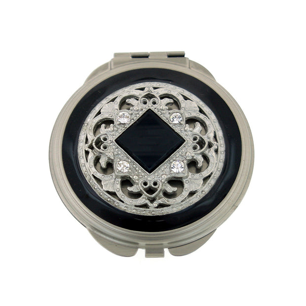 Black  Enamel And Square Stone Round Mirror Compact