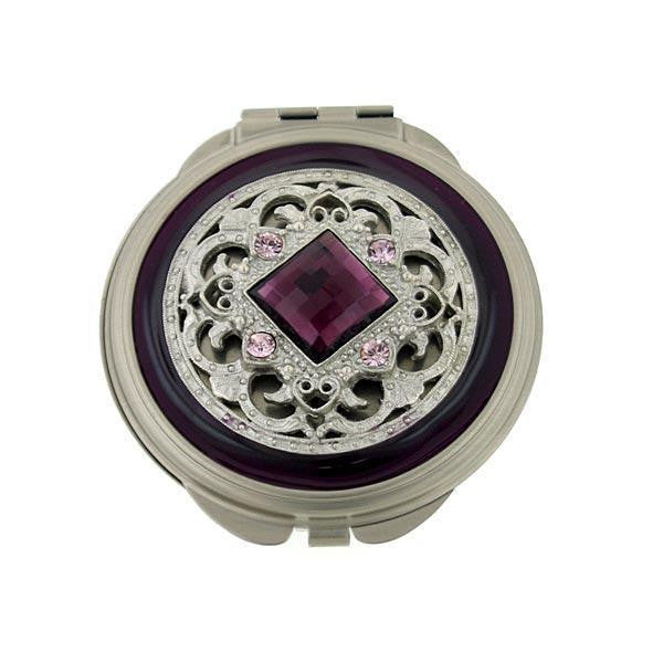 Silver-Tone Purple Enamel And Purple Square Stone Round Mirror Compact