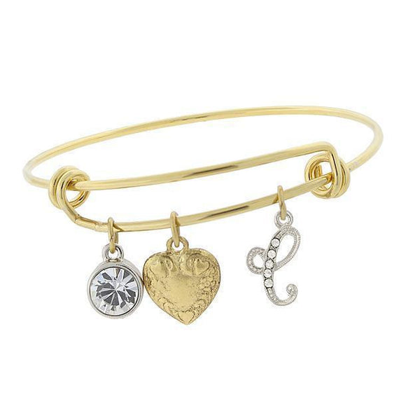 14k Gold-Dipped Heart and  C  Initial Crystal Charm Bracelet