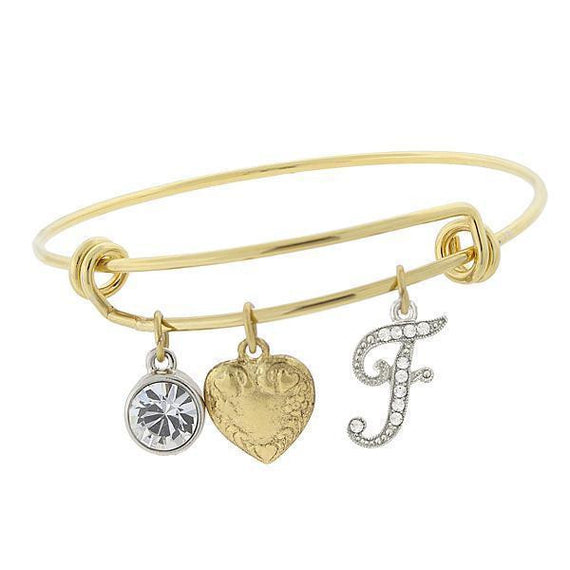 14k Gold-Dipped Heart and  F  Initial Crystal Charm Bracelet