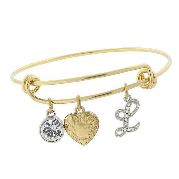 14k Gold-Dipped Heart and  L  Initial Crystal Charm Bracelet