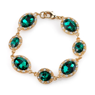Gold Tone Green And Crystal Accent Oval Bracelet