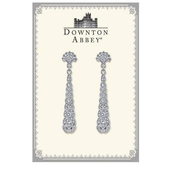 Fashion Jewelry - Downton Abbey® Boxed Silver-Tone Crystal Long Drop Earrings