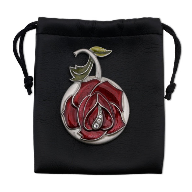 Round Pewter Mirror with Red Enamel Rose and Crystal Czech Stones in Black Vegan Leather Pouch