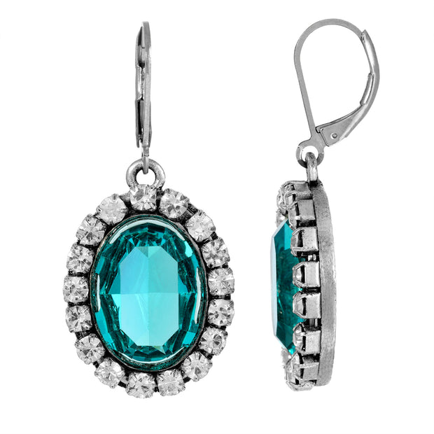 Blue Oval Vivid Swarovski Crystal Element Drop Earrings