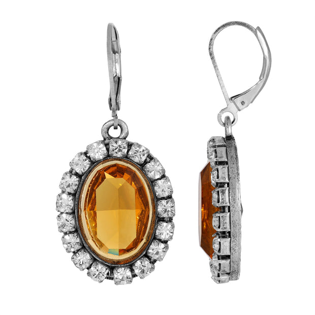 Yellow Oval Vivid Swarovski Crystal Element Drop Earrings