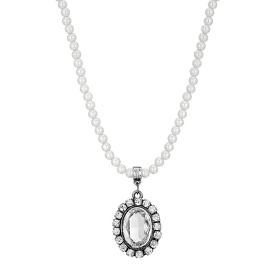 Clear Swarovski Crystal Element Pearl Strand Necklace