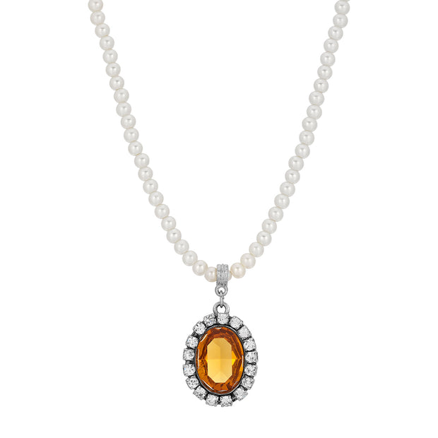Yellow Swarovski Crystal Element Pearl Strand Necklace
