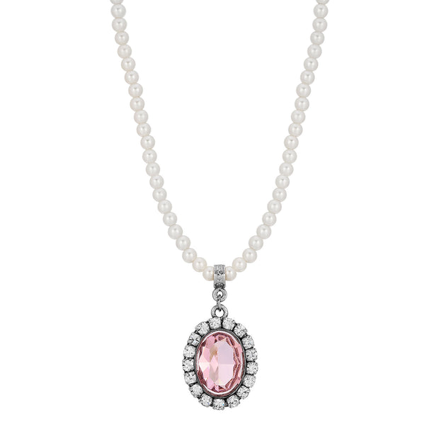 Pink Swarovski Crystal Element Pearl Strand Necklace