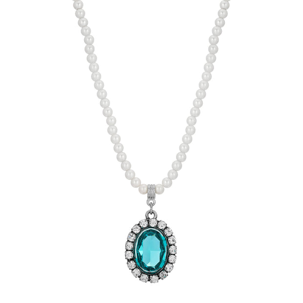 Light Blue Swarovski Crystal Element Pearl Strand Necklace