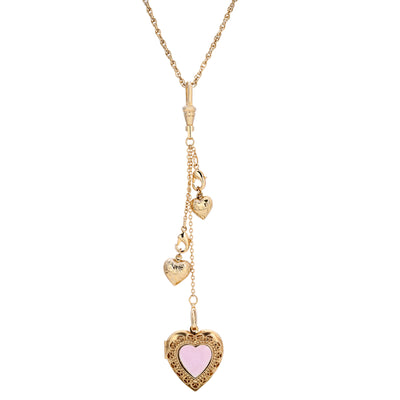 14k Gold Dipped Pink Enamel Multi Hearts & Locket Necklace 17.5 - 20 Inch Adjustable