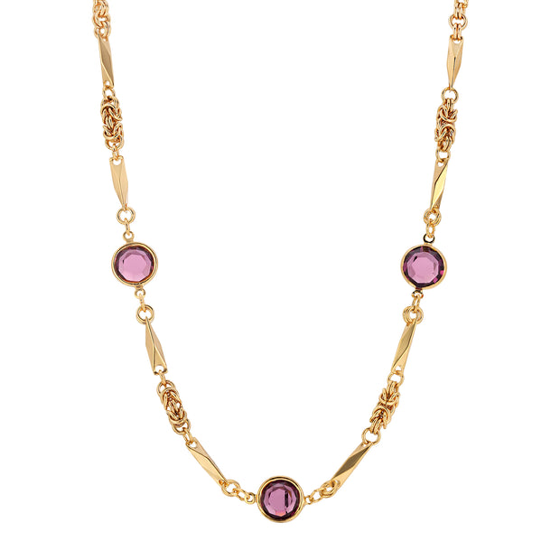 Purple Swarovski Round Chanel Crystal Necklace