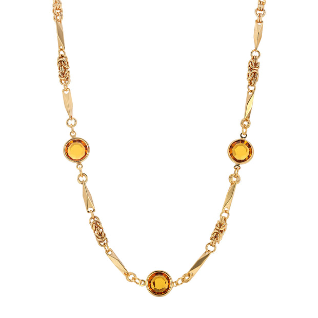 Yellow Swarovski Round Chanel Crystal Necklace