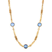 Blue Swarovski Round Channel Crystal Necklace