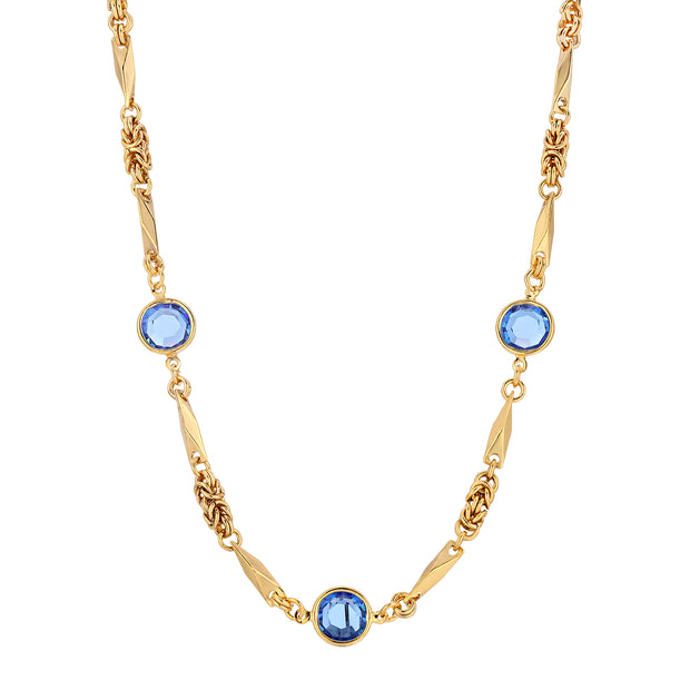 Blue Swarovski Round Chanel Crystal Necklace