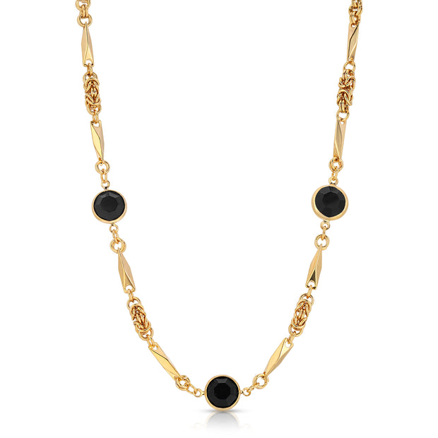 Black Swarovski Round Channel Crystal Necklace