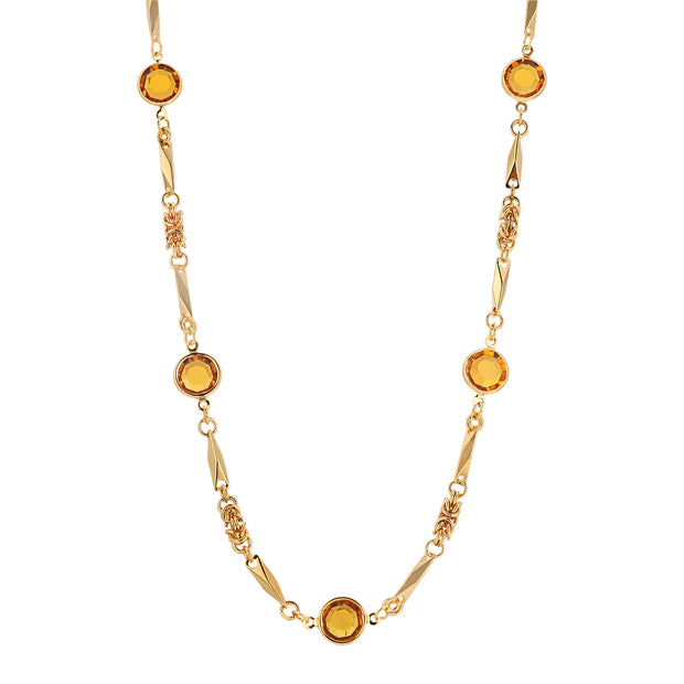 14k Gold Dipped Topaz Chanel Necklace 24 Inch
