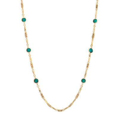 1928 Jewelry 14k Gold Dipped Swarovski Round Chanel Necklace 32 Inch