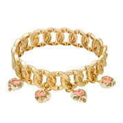 Gold Tone Floral Heart Drop Stretch Bracelet