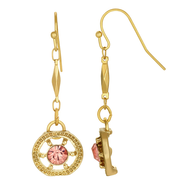 1928 Jewelry Gold Tone Round Ornate Crystal Drop Earrings