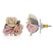 Multicolor Porcelain Rose Button Earrings