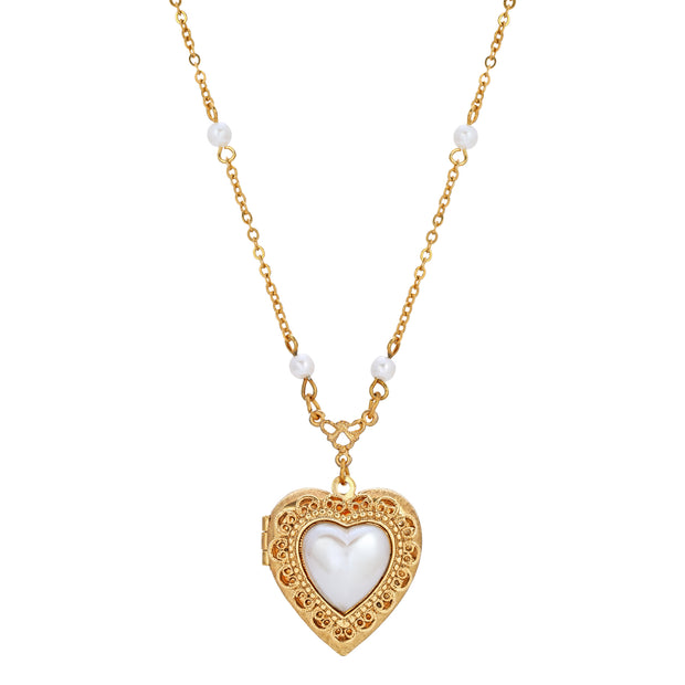 14K Gold Dipped Pearl Heart Locket Necklace 18 Inch