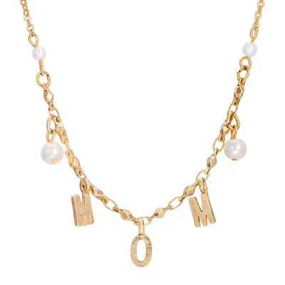 14K Gold Dipped M O M with Pearl Necklace 16 Inch